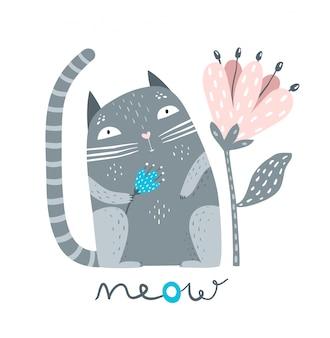 Gattino sveglio dell'animale domestico che si siede con il fiore che dice miao.