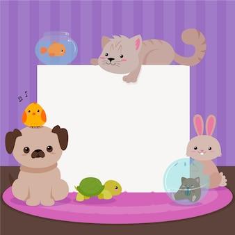 Carta di simpatici animali domestici