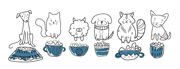 Simpatici animali domestici. stile pennarello, diversi gatti e cani simpatici animali domestici.
