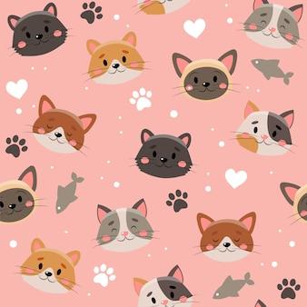 Modello di simpatici animali domestici, gatti diversi