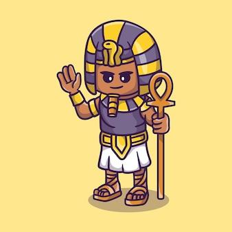 Simpatico faraone che tiene il bastone e agita la mano