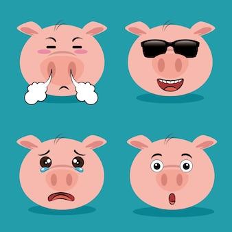 Simpatico cartone animato animale maiale