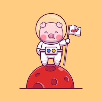 Illustrazione sveglia dell'icona del fumetto dell'astronauta del maiale. concetto animale dell'icona dello spazio isolato. stile cartone animato piatto
