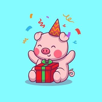 Festa di compleanno di maiale carino
