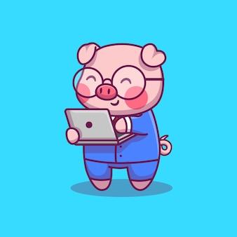 Illustrazione sveglia dell'icona di with laptop cartoon dell'uomo d'affari del maiale. concetto dell'icona dell'animale e di tecnologia isolato. stile cartone animato piatto