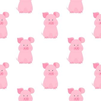 Simpatici personaggi dei cartoni animati di maiale. piggy. modello senza cuciture animale divertente