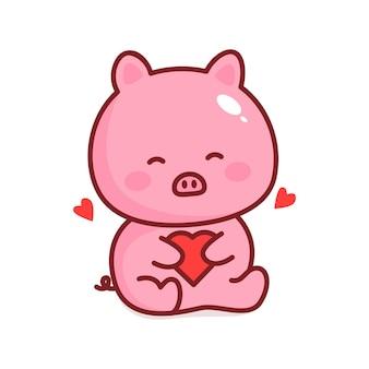 Cartone animato carino maiale abbracciami parola vettore con cuore serie girly scarabocchi dolce fattoria pet