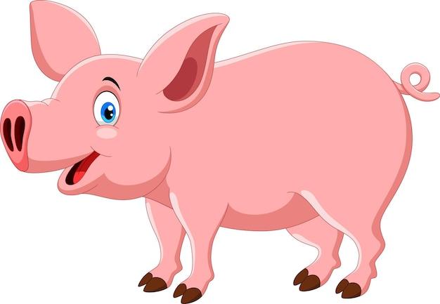 Cartone animato carino maiale isolato su bianco