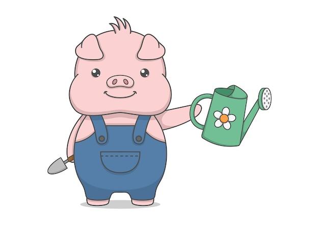 Simpatico personaggio di maiale con attrezzi da giardinaggio