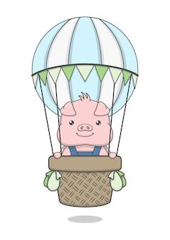 Simpatico personaggio di maiale in sella a mongolfiere