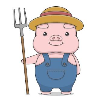 Carattere sveglio del maiale che porta il cappello e che tiene la forcella