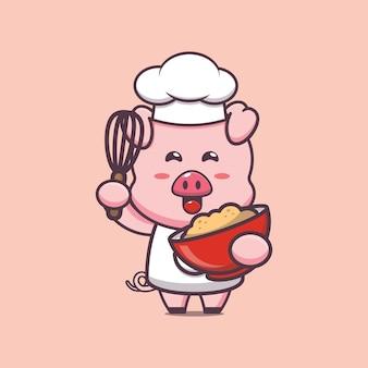 Illustrazione di carattere chef maiale carino