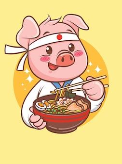 Simpatico chef di maiale che tiene un ramen cibo giapponese. personaggio dei cartoni animati e illustrazione della mascotte.