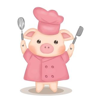 Illustrazione di chef maiale carino per la decorazione della scuola materna