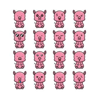 Emoticon maiale carino