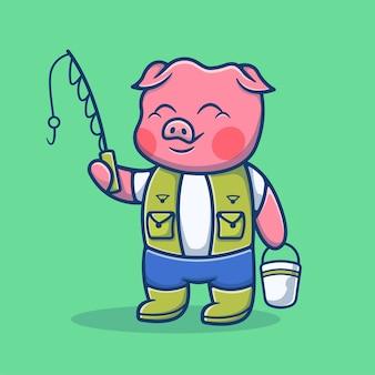 Maiale carino pesca con canna da pesca cartoon. concetto di fumetto icona di maiale. illustrazione degli animali. stile cartone animato piatto