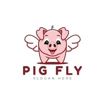 Modello di logo carino maiale volare