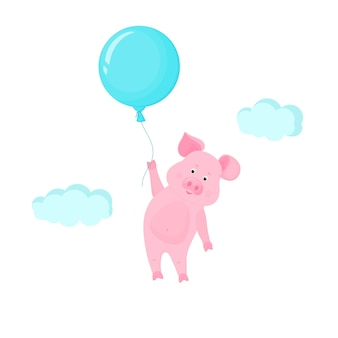 Maiale carino che vola nel cielo tenendo il pallone. personaggio dei cartoni animati divertente piggy vettoriale.