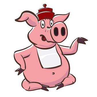 Maiale carino con cappello e bavaglino mostra una piccola teiera. illustrazione di riserva di vettore del personaggio dei cartoni animati porcellino rosa.