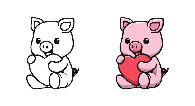 Maiale carino che tiene le pagine da colorare dei cartoni animati per bambini