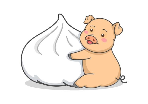 Maiale carino abbracciando panino a vapore