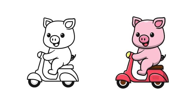 Maiale carino sta guidando una moto da colorare cartoni animati per bambini