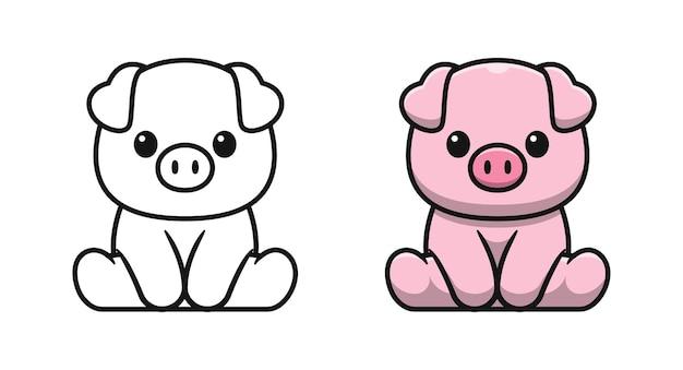 Maiale carino è seduto pagine da colorare di cartoni animati per bambini