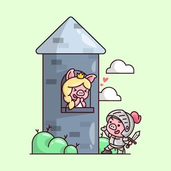 Cavaliere suino sveglio che indossa armatura salva la principessa maiale in un castello