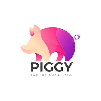 Modello di logo di maiale carino