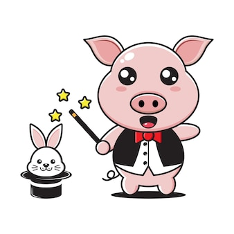 Carino mascotte mago maiale con coniglio