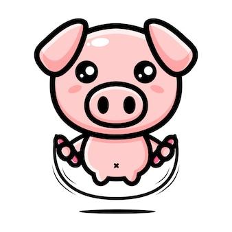 Simpatico personaggio mascotte di maiale