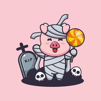 Simpatica mummia di maiale che tiene caramelle simpatica illustrazione di cartone animato di halloween