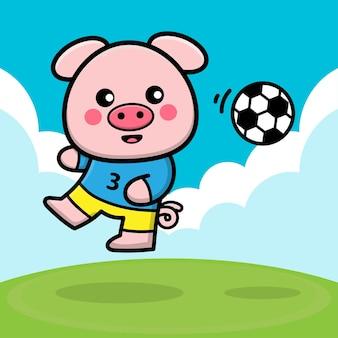 Maiale carino che gioca a pallone da calcio fumetto illustrazione