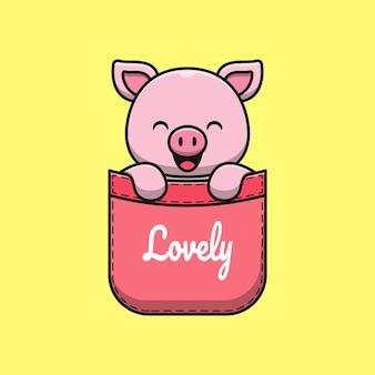 Illustrazione di cartone animato carino maiale in tasca Vettore Premium
