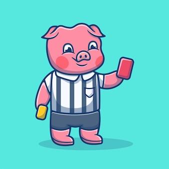 Arbitro di maiale carino con cartone animato cartellino rosso. concetto del fumetto del mediatore di maiale. illustrazione degli animali. stile cartone animato piatto