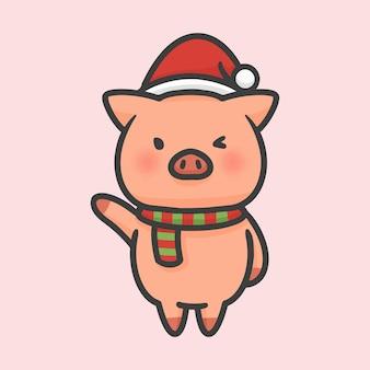 Il maiale sveglio sta sul fumetto disegnato a mano di natale del costume
