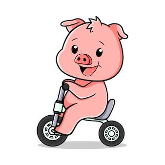 Simpatico disegno vettoriale di maiale in sella a una bicicletta