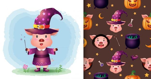 Un maiale carino con collezione di personaggi di halloween in costume. modelli senza cuciture e illustrazioni