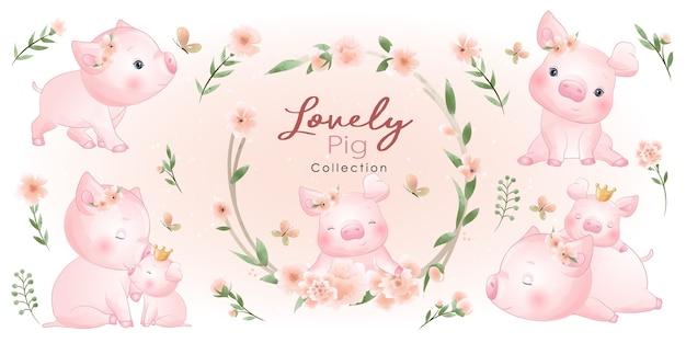 Maiale carino con collezione floreale