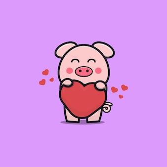 Maiale carino con amore