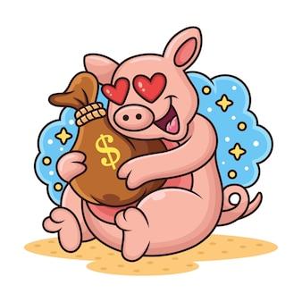 Maiale sveglio con l'illustrazione dell'icona della borsa dei soldi. personaggio dei cartoni animati della mascotte animale isolato su priorità bassa bianca