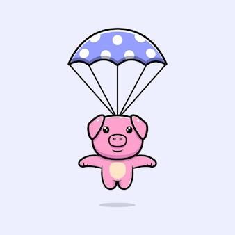 Maiale carino con personaggio mascotte paracadute