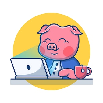 Maiale sveglio che lavora al computer portatile. concetto di fumetto icona di maiale. illustrazione degli animali. stile cartone animato piatto