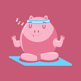 Il maiale sveglio nel loto di yoga propone il personaggio dei cartoni animati isolato su una priorità bassa.