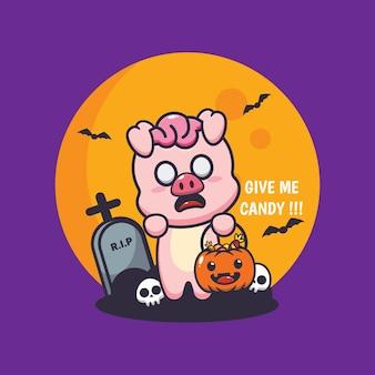 Simpatico maiale zombie vuole caramelle simpatica illustrazione di cartone animato di halloween