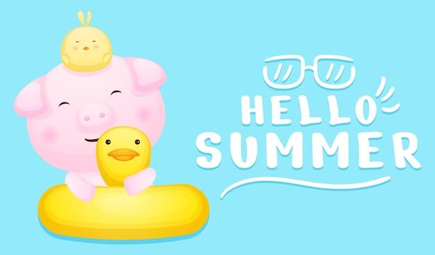 Simpatico porcellino e pulcini sulla boa di nuoto con banner di saluto estivo