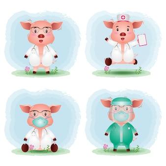 Simpatici maiali con collezione di costumi di dottore e infermiera del personale medico