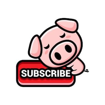 Simpatici maiali con un pulsante di iscrizione