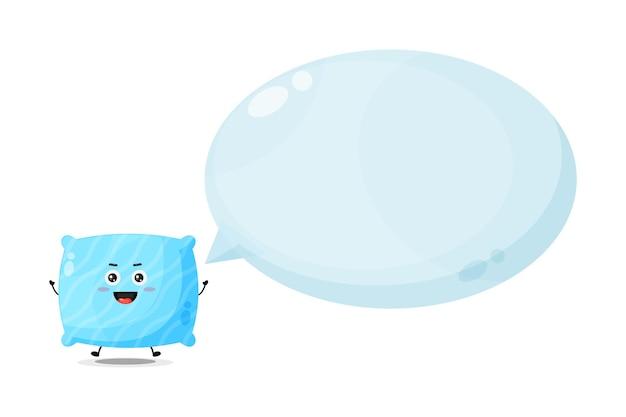 Simpatico personaggio cuscino con discorso bolla