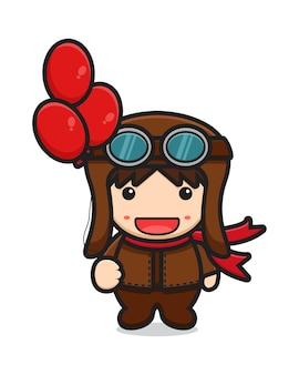 Simpatico personaggio mascotte pilota con palloncini